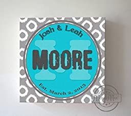 MuralMax - Custom Modern Family Name & Established Date, Stretched Canvas Wall Art, Wedding & Memorable Anniversary Gifts, Unique Wall Decor, Color, Turquoise, 30-DAY - Size 40x40