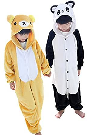 Winter Halloween Kid Cosplay Flannel Panda Animal Pajamas Sleepwear Costume