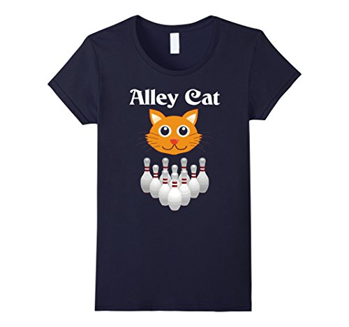 womens-funny-alley-cat-graphic-bowling-ladies-fitted-t-shirt-medium-navy