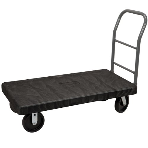 Akro-Mils VERSA/Deck Steel Reinforced 2000-Pound Capacity Plastic Platform Truck, 30-Inch Wide and 60-Inch Long, Black