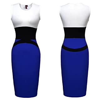 Miusol Celebrity Midi Contrast Bodycon Pencil Evening Dress, Ship From Us (XX-Large/US Size 16/18, Blue)