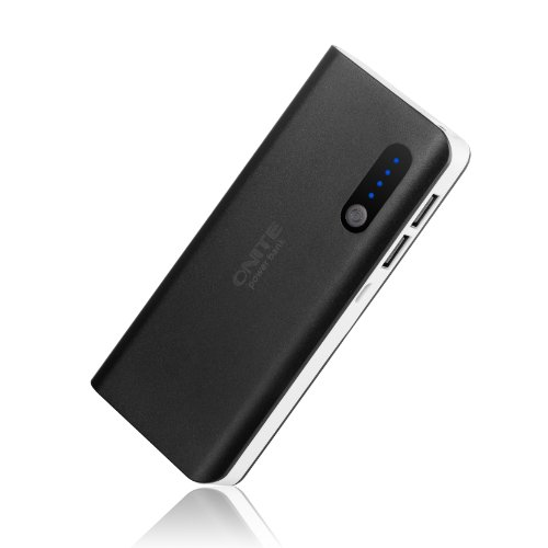 Onite 8000mAh High Capacity Portable Power Bank & External Battery Packs Charger with 2 Output Ports [USB 5V/1A, 5V/2A, Black]