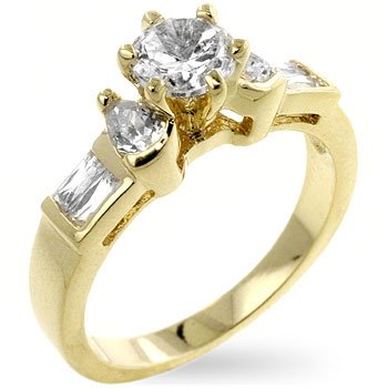 14k Gold Bonded Anniversary Ring Featuring Baguettes and Round Cut Clear CZ Accents in Goldtone