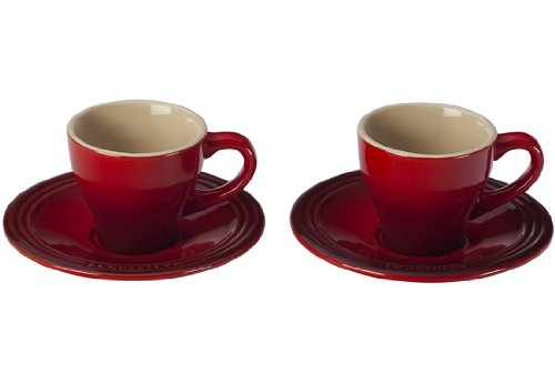 Le Creuset Stoneware Set Of 2 Espresso Cups And Saucers, Cherry front-513717