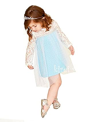 Girls Elegant Elsa Princess Lace Long Sleeves Blue Party Dress