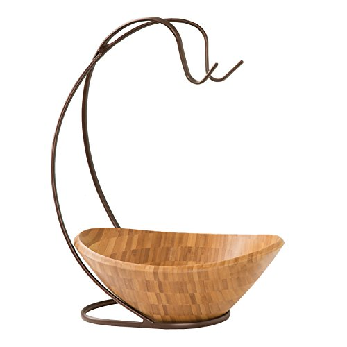 Seville Classics Bamboo Fruit Bowl with Banana Hook (Fruit Tree Holder compare prices)