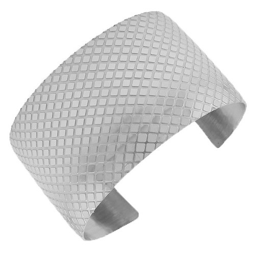 Stainless Steel Silver Tone Open End Wide Pebble Diamond Design Womens Cuff Bangle Bracelet