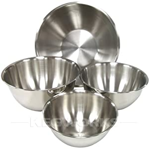 Heavy Duty Stainless Steel Mixing Bowls - Set of 4 by Winco