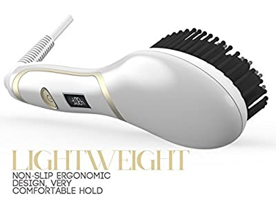 Hair Straightener Brush, Magictec Ceramic Heating Straightening Irons Brush Anti Scald, Static, Detangling and Silky Straight