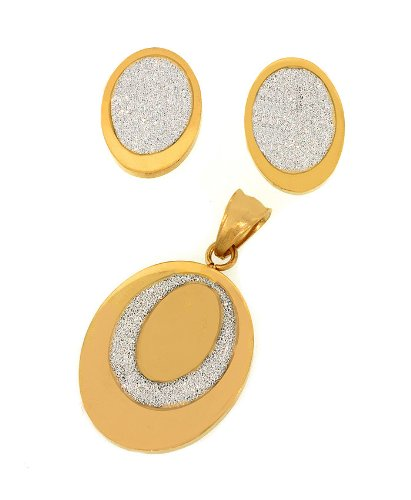Ladies Two Tone Stainless Steel Shiny Oval Pendant And Earrings Fashion Set