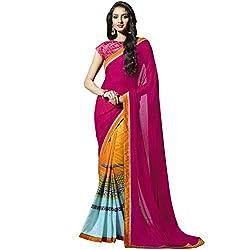Vasu Saree For Women Pink Colour Abstract Print Bangalore Silk Classic Casual Saree