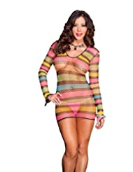 Music legs women s long sleeved multi colored diamond net mini dress