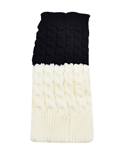Absolutely Perfect Assorted Colors Womens Short Boot Cuffs Leg Warmers A Black White