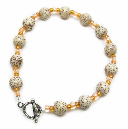 AM4083 – Unique Buri Wood and Orange Glass Bead Bracelet by Dragonheart – 20cm