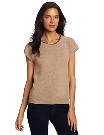 Magaschoni Women's 100% Cashmere Embellished Crew Neck Sweater, Scotch Mouline, Small