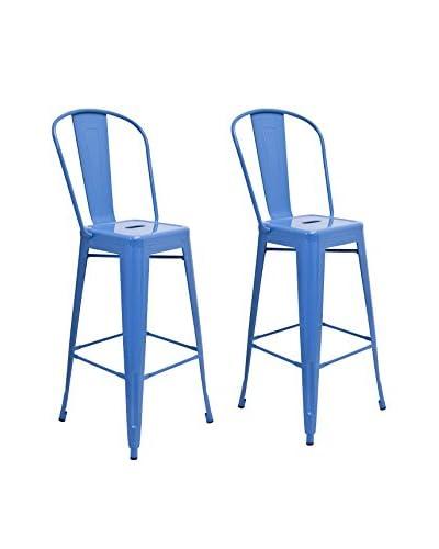 Aeon Set Of 2 Garvin Barstools, Blue