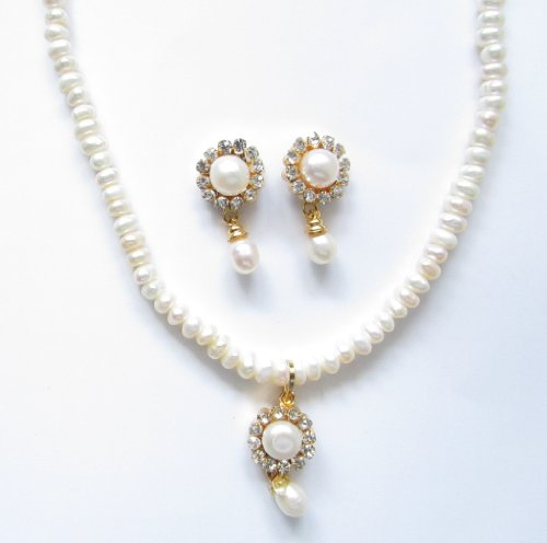 Elegant Freshwater Pearl Necklace White and Studs