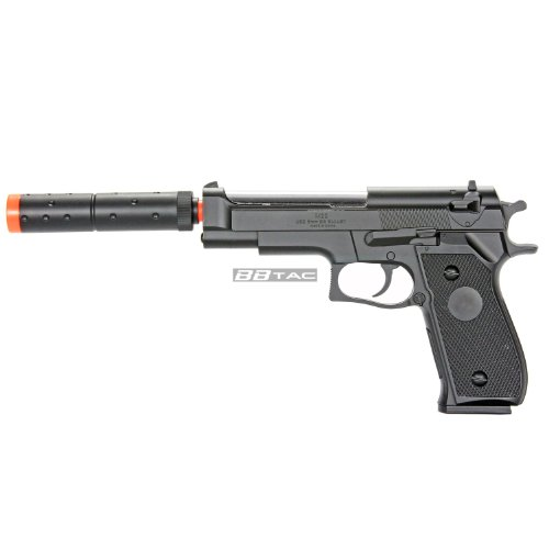 BBTac M22 Airsoft 300 FPS Spring Pistol with Threaded Tactical Barrel and Detachable Extension Spring