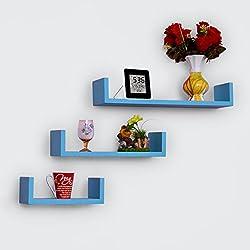 USHA Furniture Set of 3 U Shape Wall Shelves (Sky Blue)