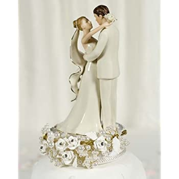 Vintage Rose Pearl Wedding Cake Topper