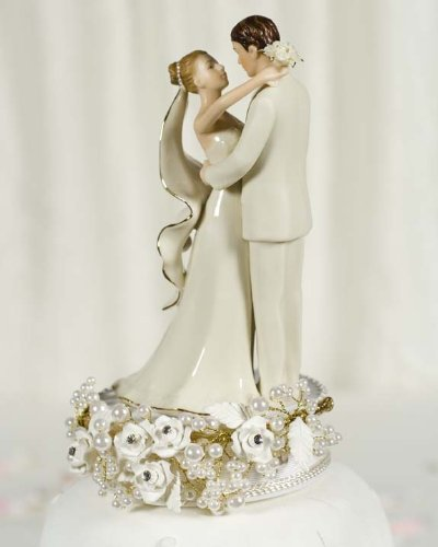 Vintage Rose Pearl Wedding Cake Topper 2
