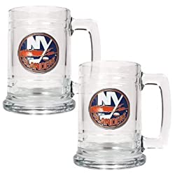 New York Islanders 2pc 15oz Glass Tankard Set- Primary Logo NHL Hockey