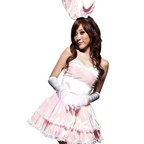 LoveSex Lovely Womens Bunny Costumes Christmas Cosplay Party Santa Claus Dress Pink