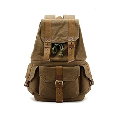 Kaukko Canvas Dslr SLR Camera Bag Backpack Rucksack with Waterproof Rain Cover for Sony Canon Nikon Olympus Size 30*20*40cm(w*d*h)