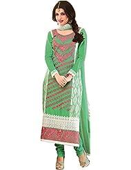 Exotic India Ultramarine-Green Long Choodidaar Bhagyashree Suit With Thr - Green