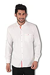 Kivon Men's White Casual Shirt
