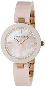 Anne Klein Women's AK/1314RGLP Bangle Watch with Swarovski Crystals