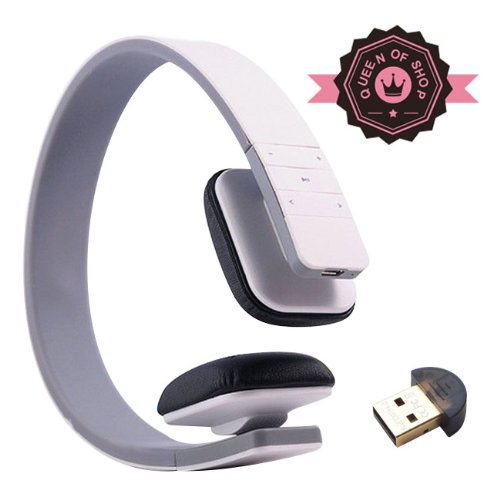 Queen Lc8200 White Leather Earmuffs Sport Bluetooth 3.0 Wireless Stereo Headset Headphones With Microphone Hands-Free Calling For Running Work With Apple Iphone 5 5C 5S 4S Ipad Ipod Touch, Samsung Galaxy S4 S3 Note 3 2 And Android Tablet Phones
