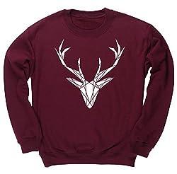 HippoWarehouse Geometric Stag unisex jumper sweatshirt pullover