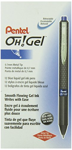 Pentel OH K497-C- Bolígrafo retráctil de gel (0.7 mm, línea de 0.35 mm, 12 unidades), color azul