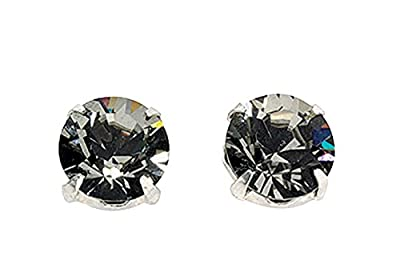 Black Diamond Colour Swarovski Crystal Stud Earrings In Sterling Silver