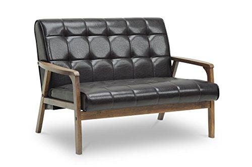 Baxton Studio Mid-Century Masterpieces Love Seat, Brown 0