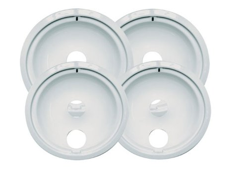 Range Kleen P119204Xw Porcelain Ge Drip Pans Set Of 4 Containing 2 Units P119W, P120W, White front-20472
