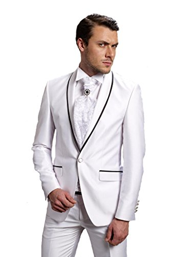MYS Men's Custom Made Groomsman Shawl Satin Lapel Tuxedo Suit Pants Set White Size 42R (Fat Daddy Button compare prices)