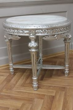 Coffee Table Round Wood Baroque Antique Style AwTA0254SiWe