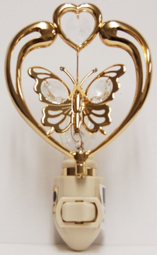 Butterfly in Heart in 24K Gold Plated Night Light..... With Clear Swarovski Austrian Crystal