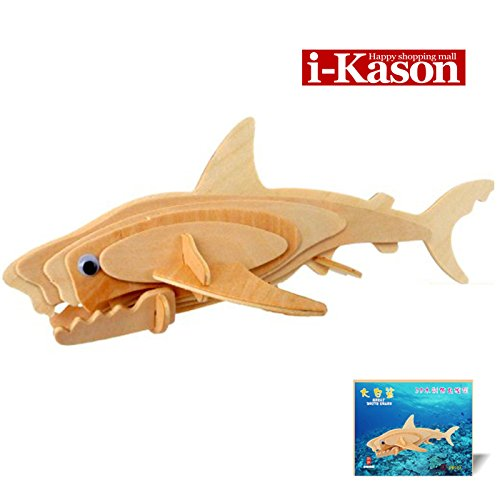 Authentic High Quality i-Kason® New Favorable Imaginative DIY 3D Simulation Model Wooden Puzzle Kit for Kids/Children and Adults Artistic Wooden Toys for Children - Jaws
