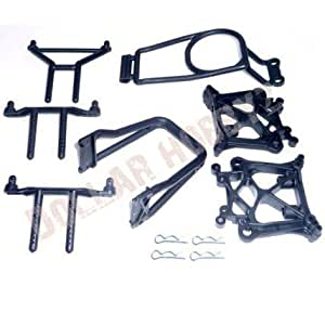 HPI Savage X 4.6 SHOCK TOWERS, BODY POSTS & ROLL BAR (bulkhead differential clip