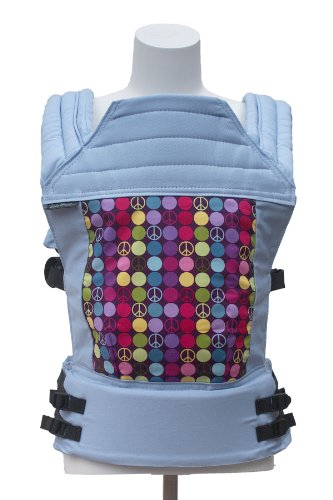 Baby Hawk OH SNAP! Baby Carrier Los Angeles - Peace Dots Sorbet on Light Blue Straps