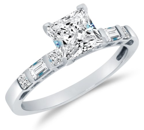 Size 5.5 - Solid 14K White Gold Highest Quality Cz Cubic Zirconia Bridal Engagement Ring W/Matching Wedding Band Two Ring Set - Princess Cut Solitaire With Baguette Side Stones (1.75Cttw., 1.0Ct. Center)