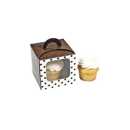 Chocolate Brown Polka Dot Cupcake Boxes With Handle - Solid Color Party Supplies & Solid Color