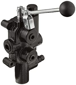 """Prince LS-3000-1 Directional Control Valve, Logsplitter, 4 Ways, 3 Positions, Spring Center to Neutral, Cast Iron, 2750 psi, Lever Handle, 25 gpm, In/Out: 3/4"""" NPTF, Work: 1/2"""" NPTF by Prince Manufacturing"""