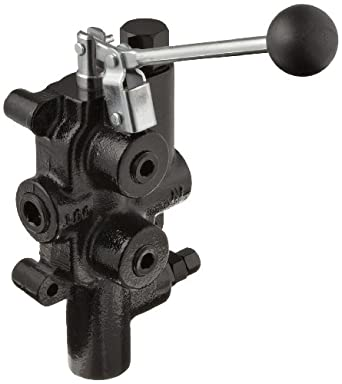 "Prince LS-3000-1 Directional Control Valve, Logsplitter, 4 Ways, 3 Positions, Spring Center to Neutral, Cast Iron, 2750 psi, Lever Handle, 25 gpm, In/Out: 3/4"" NPTF, Work: 1/2"" NPTF"