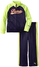 PUMA Little Girls\' Little Raglan Tricot Track Jacket And Pant Set, Astral Aura, 4