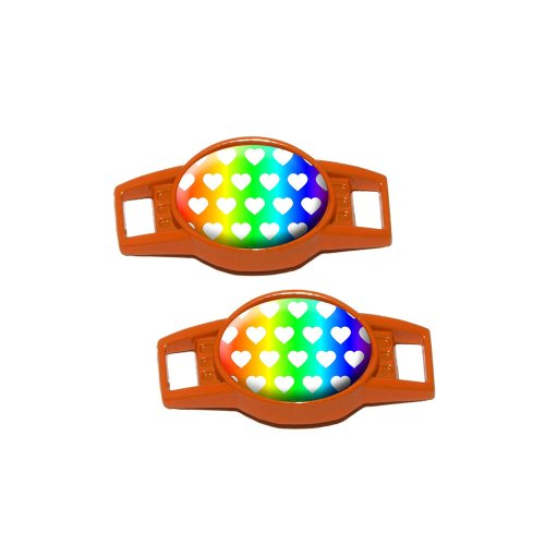 Sweet Heart Pattern Rainbow White - Shoe Sneaker Shoelace Charm Decoration - Set Of 2 - Orange