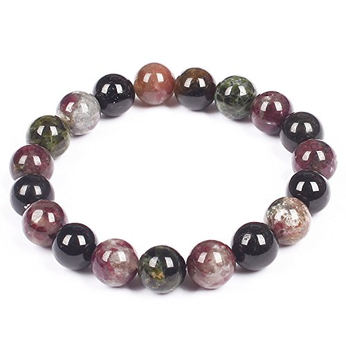 Classic Multicolored Tourmaline Round Beaded Streched bracelet